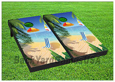 VINYL WRAPS Cornhole Boards DECALS Vacation Paradise BagToss Game Stickers 600