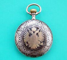 Rarität Taschenuhr Nachtigall Tula Silber Niello / Pocket Watch Niello