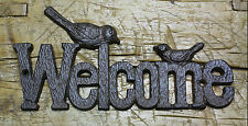 Cast Iron Antique RUSTIC Style BIRDS WELCOME Plaque Sign GARDEN Ranch Wall Decor
