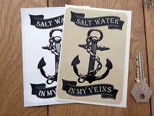 ACQUA SALATA IN MY SCANALATURE Salty Lupo di mare Barca ADESIVO 120mm Pescatore
