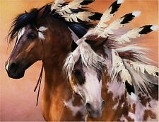 NATIVE WAR HORSES FEATHERS INDIAN TRIBAL APOLOOSA CANVAS  ART PRINT LARGE