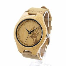 BOBO BIRD AM076 Deer Engraved Mens Wood Bamboo Watches in Gift Box, Eco-Friendly