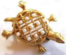 VINTAGE FAUX PEARL TURTLE WAS HIDDEN WATCH GOLD PLATED TONED BROOCH PIN*A247