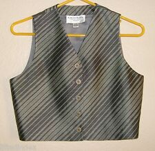 New Womens 2P 2 Petite EMANUEL UNGARO Gray & Black Stripe 100% Silk Vest 2/36