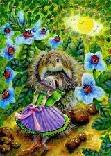 Mouse Bird Nest Flowers Sun Fantasy Landscape ACEO Original Art Painting