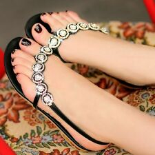 Women's Flip-flop Flat Shoes Fashion Rhinestone Cool Sandals Black Size US 8.5
