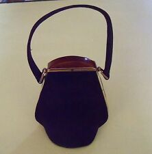 darling small vintage handbag art deco brown suede lucite bakelite clasp clean