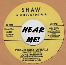 R&B REPRO: JUNE BATEMAN - Possom Belly Overalls/Go Away Mr Blues SHAW