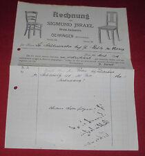 rechnung alt antik sigmund israel öhringen stuhl industrie württ. 1919 papier