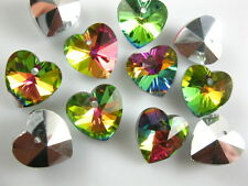 Nice 12ps Colorized Glass Crystal Heart-Shaped Beads Spacer Findings 14mm Charms