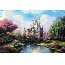 16''x20'' Retro Rainbow Castle Oil Painting DIY Paint By Number Kit Home Decor
