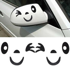 Cute Smile Face Design 3D Decoration Sticker For Car Side Mirror Rearview Black