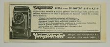 Pubblicità 1937 VOIGTLANDER BESSA PHOTO FOTO old advertising werbung publicitè
