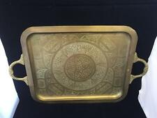 Arabesque Brass Table Top Tray with Arabic Calligraphy Geometric Islamic Pattern