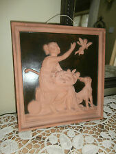 Antique Danish Terracotta Plaque~P.Ipsen Kjobenhavn Eneret After Thornvaldsen