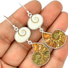 Fossil Ammonite & Shiva Eye 925 Sterling Silver Earrings Jewelry SE130511