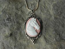 BEAUTIFUL HORSE CAMEO NECKLACE (WHITE ON PINK) - .925 SILVER PLATED- HORSE LOVER