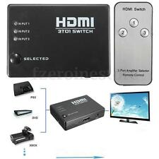 3 Way HDMI Port Switch Splitter Hub With Remote 1080P For HDTV PS4 Xbox 360 Sky