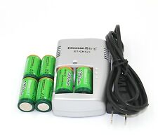 6pcs Etinesan 1350MWH 3v CR123A rechargeable LiFePO4 battery with CR123A charger