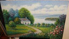 CLIFFORD LARGE GREEN GARDEN LAKE LANDSCAPE ORIGINAL OIL ON CANVAS PAINTING