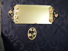 Hobby Lobby Vanity Dressing Table Mirror with Handles and Pink Flowers