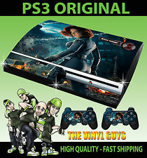 PLAYSTATION PS3 ORIGINAL STICKER BLACK WIDOW FIRE 001 AVENGER SKIN & 2 PAD SKINS