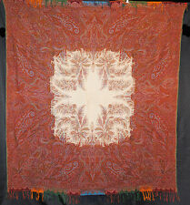 """ANTIQUE PAISLEY SHAWL FRENCH 1860's WOOL LOOMED WHITE CENTER 68"""" x 63"""""""