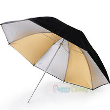 "33"" 84cm Alternate Black Gold and Silver Umbrella Studio Flash Light Reflector"