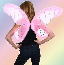 "Wings Lurex Glitter Feathers 19x33"" Halloween Costume Butterfly Fairy PINK"
