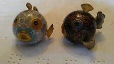 Vintage Chinese Puffer Fish Articulated Design Metal Gold Wash? Cloisonne Enamel
