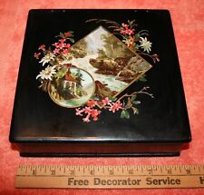 Vintage Metal Box with Black Lacquer Paint and Red Inside Top Painted