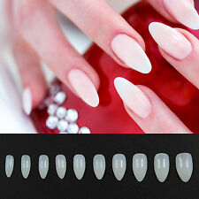 600 White French Acrylic False Sharp Nail Art Tips Fingernail Natural Full Cover