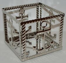 BATH & BODY WORKS CHROME ANCHORS SQUARE METAL LARGE 3 WICK CANDLE HOLDER 14.5 OZ