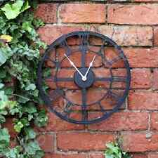 NEW LARGE 34CM BLACK METAL ROUND GARDEN OUTDOOR WALL CLOCK VINTAGE ROMAN NUMERAL