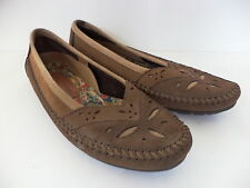 HUSH PUPPIES BROWN NUBUCK LEATHER CASUAL BALLET FLATS WOMENS SZ 38/39 US 7.5M