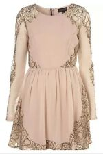 Topshop Nude Lace Cobweb Panel Chiffon Skater Vtg Celeb Prom Tea Dress 10 6 38