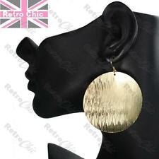 "2.75""long TEXTURED DISC 5.6cm big GOLD FASHION EARRINGS aztec pattern modern"