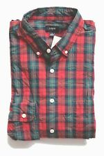 J Crew Factory - Mens XL Regular Fit - NWT - Red/Multi Plaid Washed Cotton Shirt