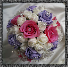 Bridal Posy Bouquet  Pink/lilac& Ivory Roses  with crystal flower embellishments