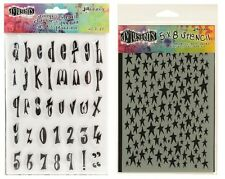 Ranger Dylusions Clear Stamp & Stencil Set - Dyan Reaveley - Star Script Letters