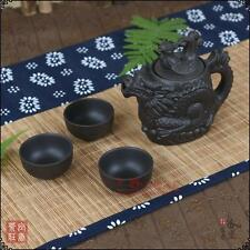 EXQUISITE CHINESE YIXING ZISHA HANDMADE CARVED DRAGON PHOENIX TEAPOT & 3 CUP