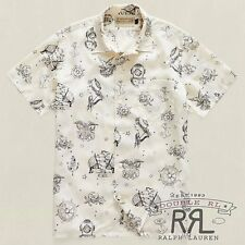 $295 RRL Ralph Lauren LIMITED EDITION Vintage Printed Twill Camp Shirt- MEN- XL