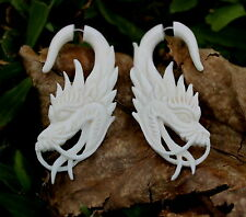 Dragon Fake gauge Organic White Bone Split  Cheater Tribal faux gauge,plugs