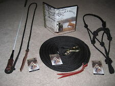 THOMEY NATURAL HORSE TRAINING SET~STICK,HALTER,LEAD+DVD~HIGH QUALITY~ BLK&WHITE