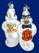 GROUCHY GHOST OLD WORLD CHRISTMAS GLASS HALLOWEEN TRICK OR TREAT ORNAMENT 26035