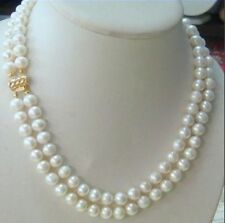 hot 2 row 9-10MM AKOYA REAL WHITE PEARL NECKLACE 14k Clasp