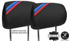M STRIPE BLACK STITCH 2X SPORT FRONT HEADREST COVERS FOR BMW 3 SERIES E46 99-05