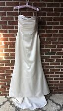 Bridal Wedding Gown Ivory Satin Dress Size 14 Tall NWT Fitted Built In Bra