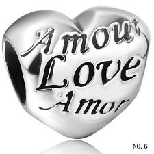 European heart 925 sterling silver charm bead For charms bracelet necklace UK