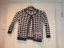 TOPSHOP HEART DESIGN CARDIGAN SIZE 6 PETITE NAVY AND CREAM